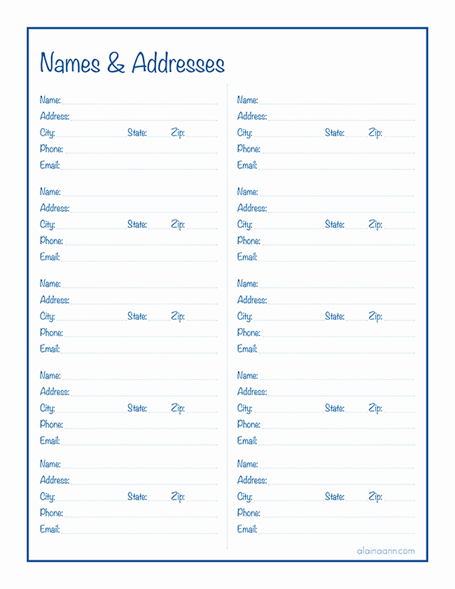 Printable Address Book Template Luxury Names & Addresses Free Printable Alaina Ann
