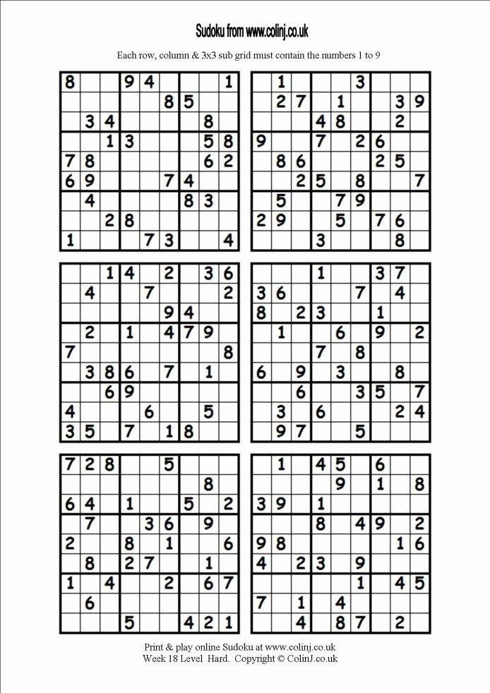 Printable Blank Sudoku 4 Per Page Best Of 6 Printable Sudoku Printable 360 Degree
