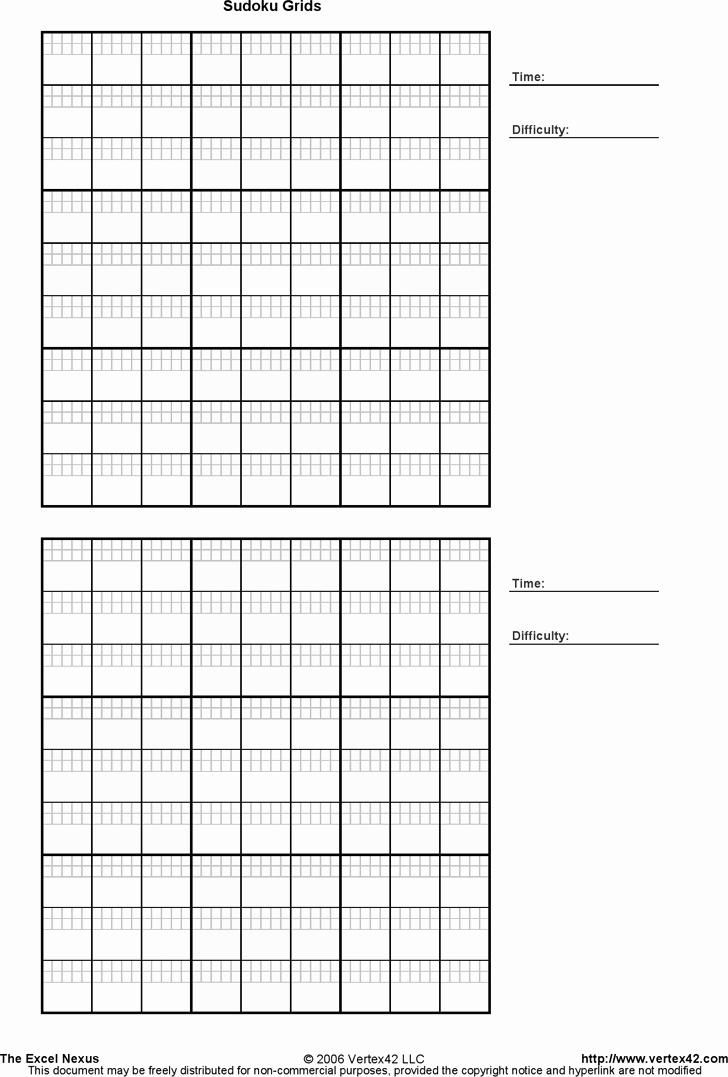Printable Blank Sudoku 4 Per Page Elegant Printable Sudoku Grids Template Free Download