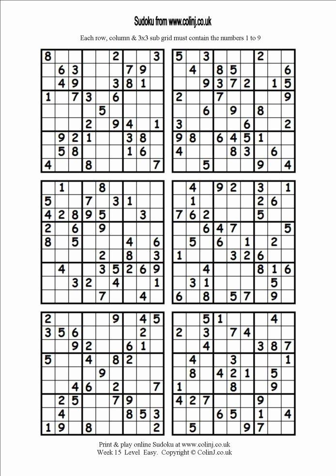 Printable Blank Sudoku 4 Per Page New 4 Printable Sudoku Per Page Printable Sudoku 6 Per Page