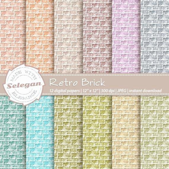 "Printable Brick Pattern Awesome Retro Decorations ""retro Brick"" Digital Scrapbook Paper"