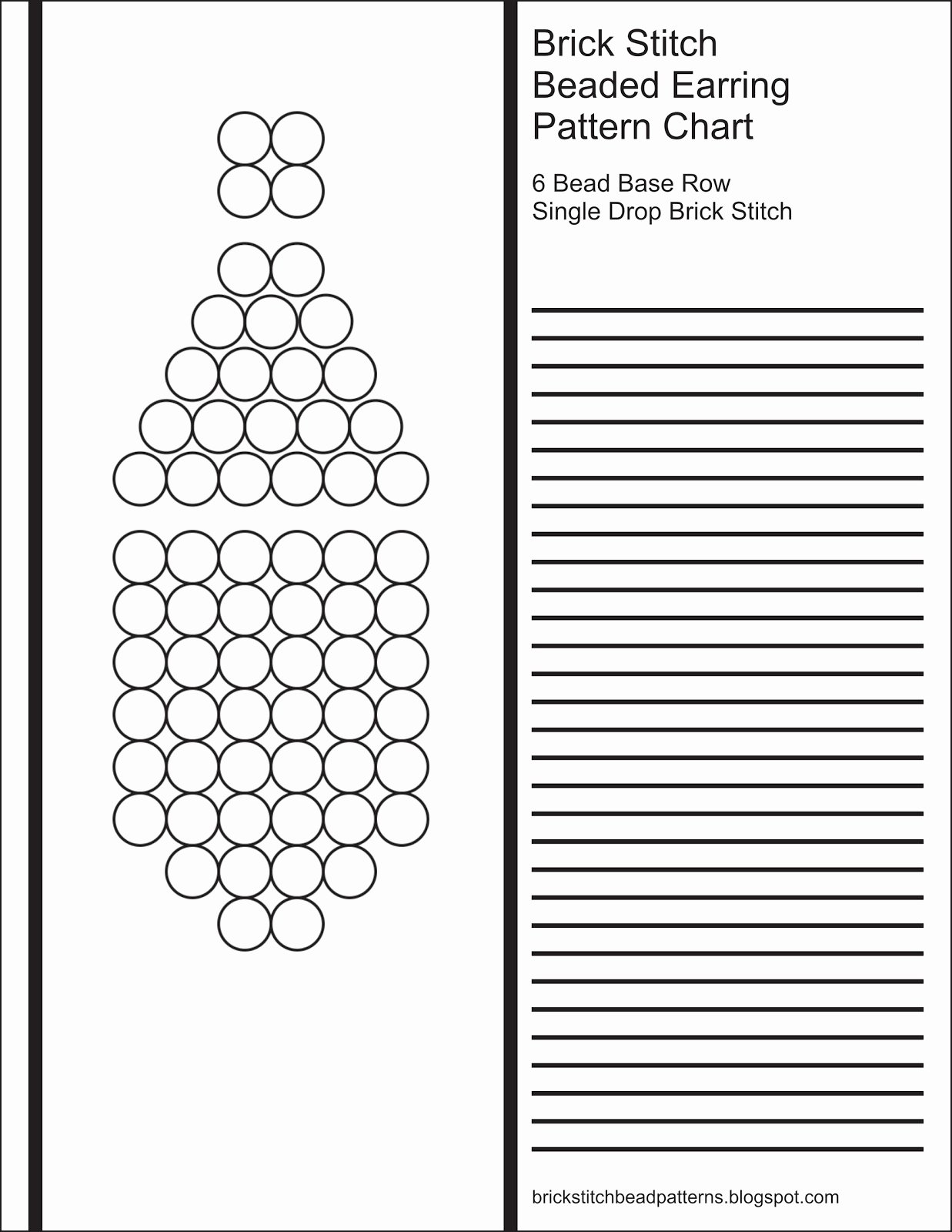 Printable Brick Pattern Unique Brick Stitch Bead Patterns Journal 6 Bead Base Row Blank