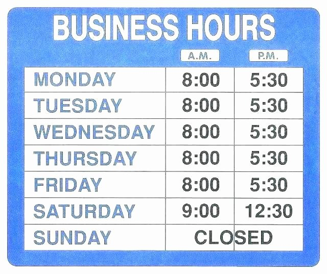 Printable Business Hours Sign Best Of Business Hours Template Word – Free Holiday Schedule Pdf