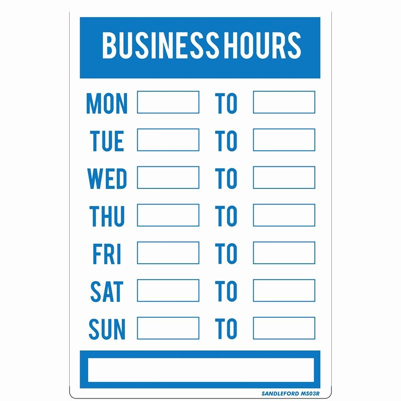 Printable Business Hours Sign Lovely Sandleford 300 X 200mm Business Hours Plastic Sign
