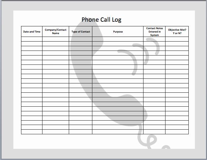 Printable Call Log Template Beautiful 7 Best Of Free Printable Call Log Template Free