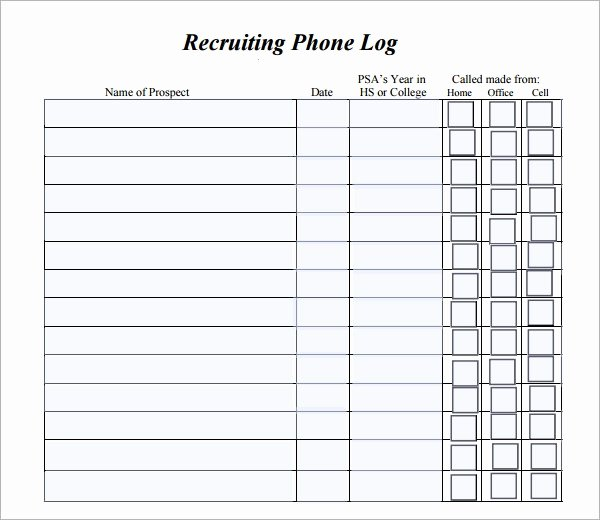 Printable Call Log Template Best Of Phone Log Template 7 Free Pdf Doc Download