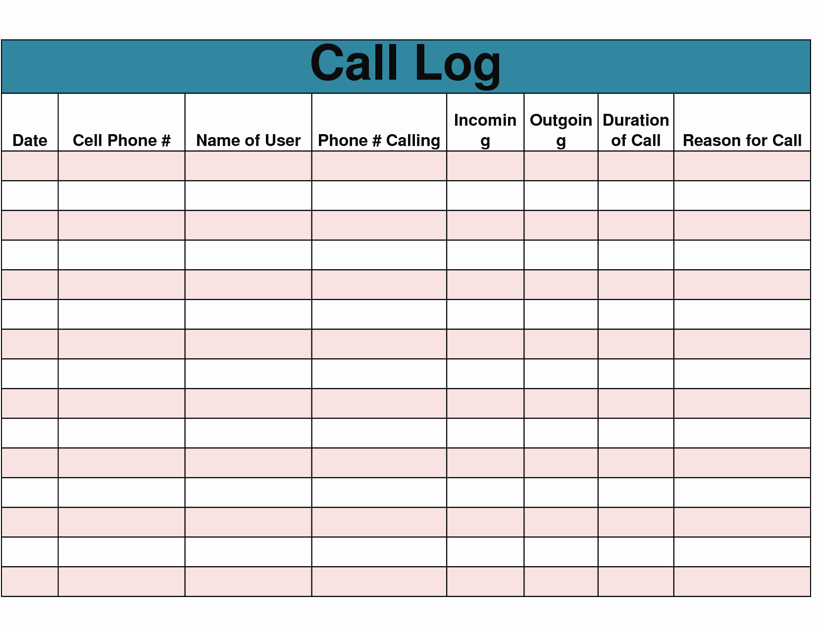 Printable Call Log Template Elegant 9 Best Of Free Printable Phone Log form Free