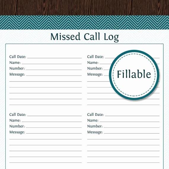 Printable Call Log Template Elegant Missed Call Log Fillable Pdf Printable Household organizer
