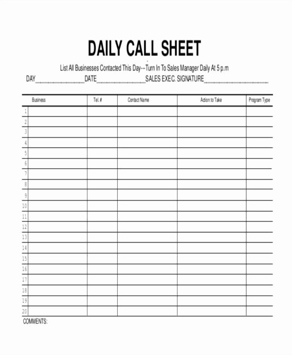 Printable Call Log Template Lovely 17 Call Log Templates In Pdf