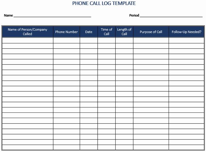 Printable Call Log Template Lovely 5 Call Log Templates to Keep Track Your Calls