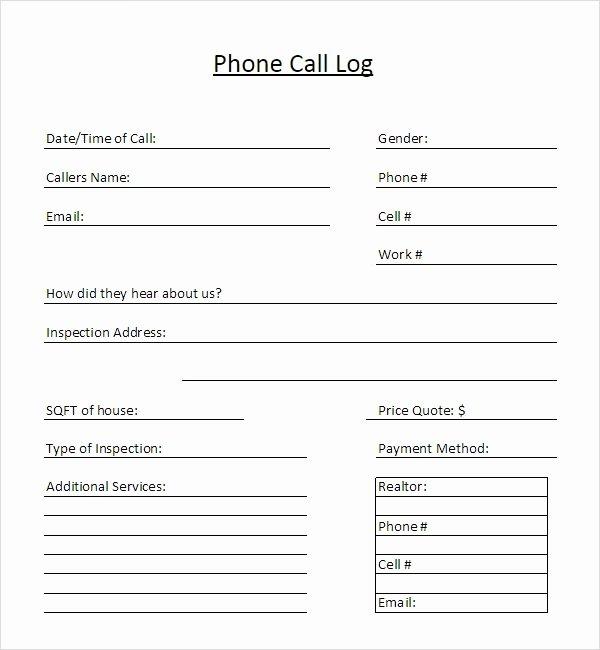 Printable Call Log Template New 13 Sample Call Log Templates Pdf Word Excel Pages