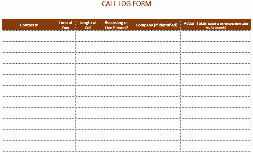 Printable Call Log Template Unique 5 Call Log Templates to Keep Track Your Calls