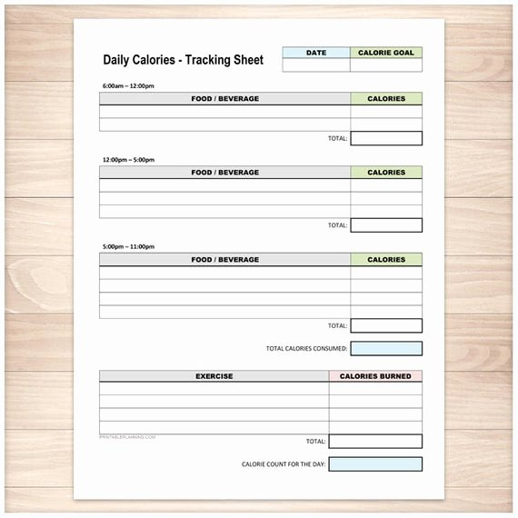 Printable Calorie Tracker Awesome Printable Calories Tracking Sheet Daily Calorie Counting and