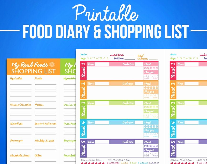 Printable Calorie Tracker Best Of Printable Food Journal Diet Diary Calorie Counter Colorful