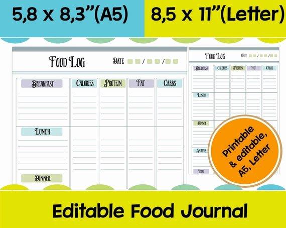Printable Calorie Tracker Elegant Food Log Printable Calorie Tracker Food Journal