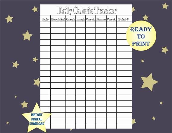 Printable Calorie Tracker Inspirational Daily Calorie Tracker Single Printable Sheet Black and White 8