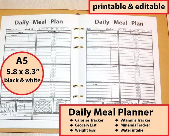 Printable Calorie Tracker New A5 Meal Planner Printable A5 Calorie Tracker Fillable