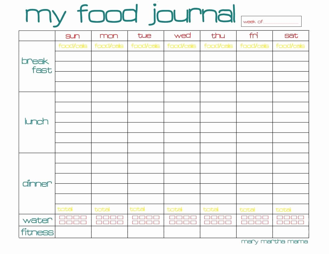 Printable Calorie Tracker Unique Free Food Journal Printable Healthy Mama Week 29 – Mary