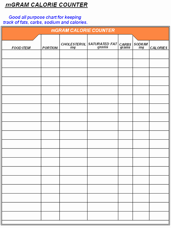 """Printable Calorie Tracker Unique Search Results for """"free Calorie Counter Log Sheet"""