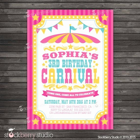 Printable Carnival Birthday Invitations Awesome Carnival Birthday Invitation Printable Circus Birthday Party