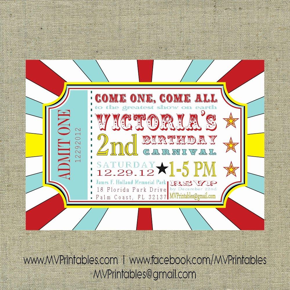 Printable Carnival Birthday Invitations Awesome Carnival themed Custom Digital Printable Invitation On