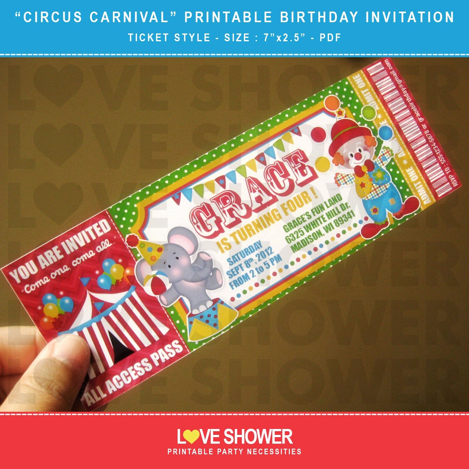 Printable Carnival Birthday Invitations Awesome Circus Carnival Printable Birthday Invitation Ticket Style