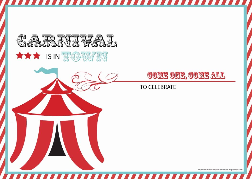 Printable Carnival Birthday Invitations Awesome Free Carnival Birthday Invitations – Free Printable