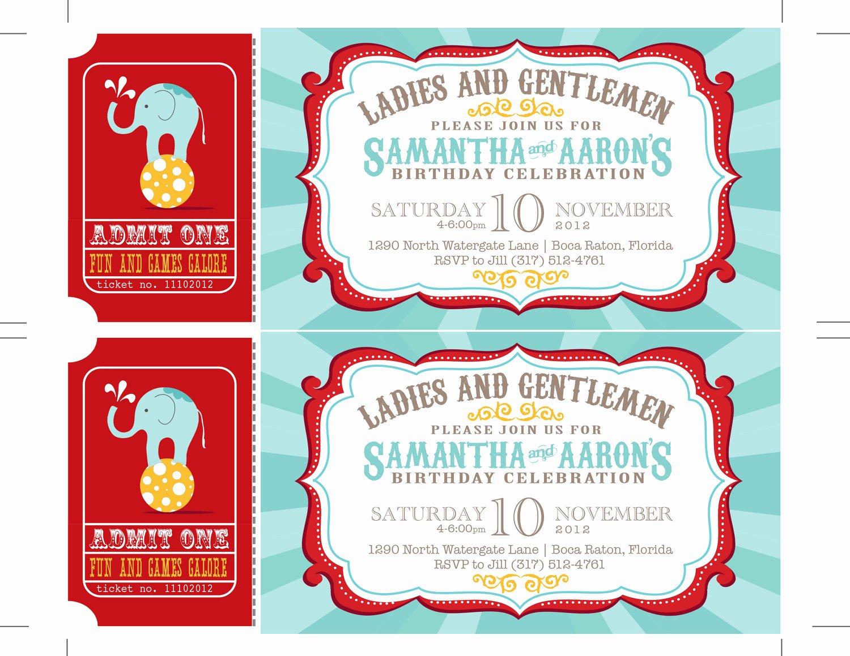 Printable Carnival Birthday Invitations Awesome Reserved Carnival Invitations Circus Invitations Ticket