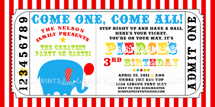 Printable Carnival Birthday Invitations Beautiful Circus Carnival Ticket Printable Invite Dimple Prints Shop