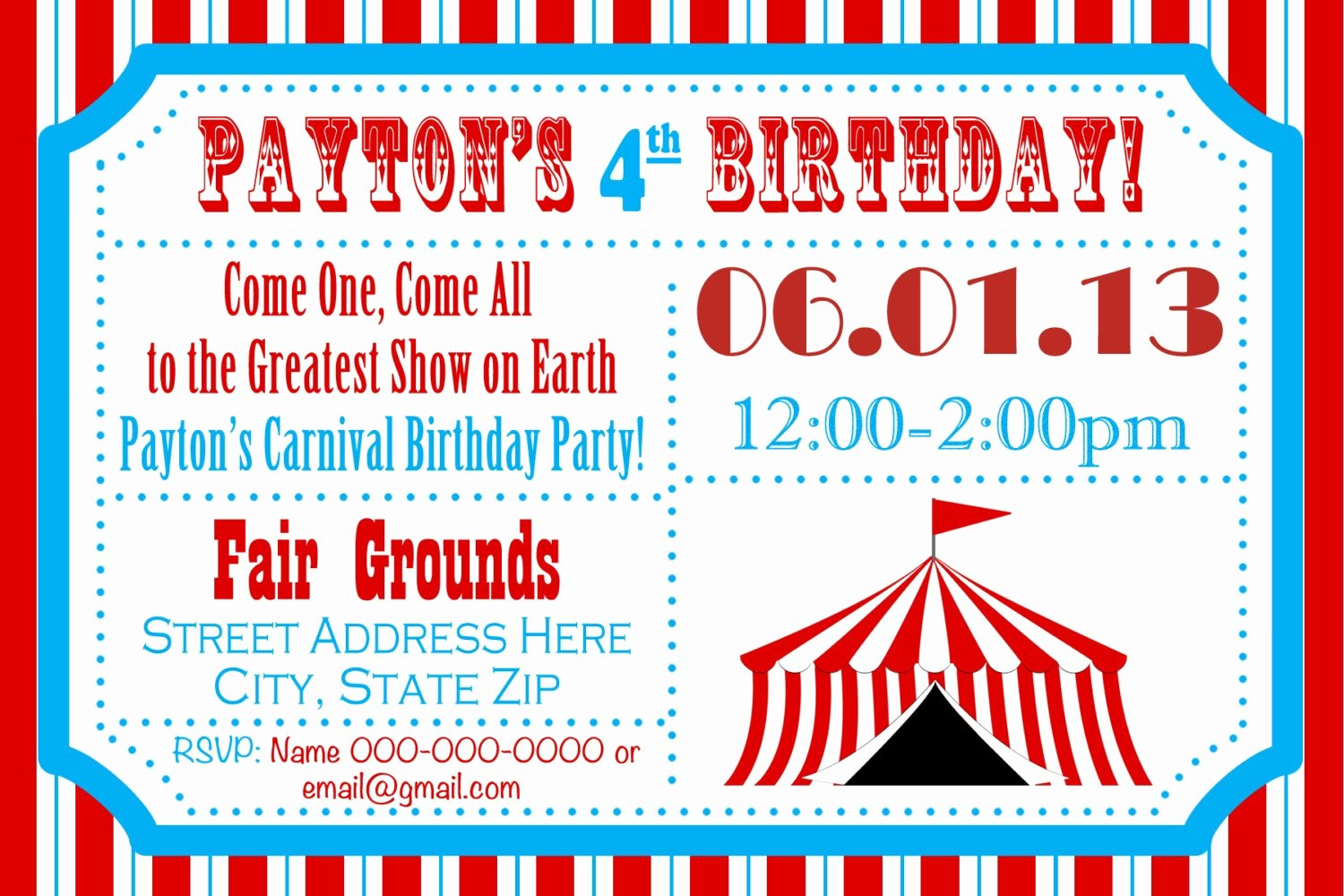 Printable Carnival Birthday Invitations Best Of Circus Birthday Party Carnival Invite Circus by