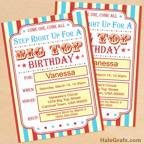 Printable Carnival Birthday Invitations Best Of Free Printable Circus Birthday Invitation Set