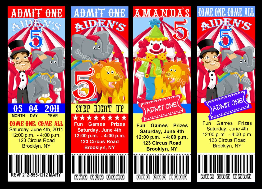 Printable Carnival Birthday Invitations Elegant Circus Carnival theme Ticket Style Invitation by