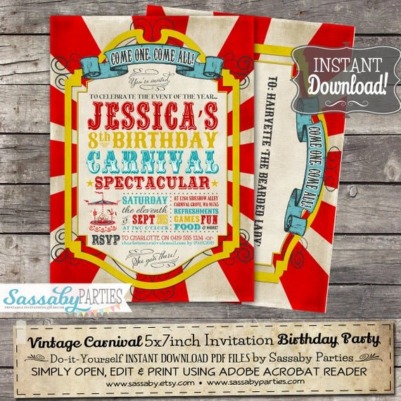 Printable Carnival Birthday Invitations Elegant Vintage Carnival Invitation Instant Download Partially