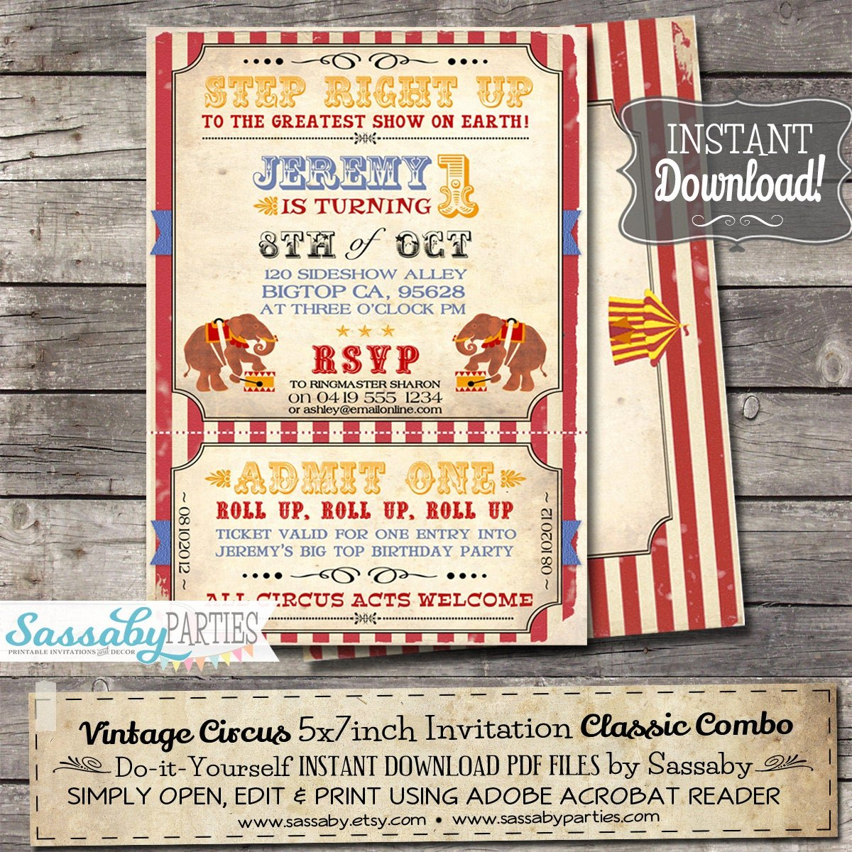 Printable Carnival Birthday Invitations Elegant Vintage Circus Invitation Instant Download Partially