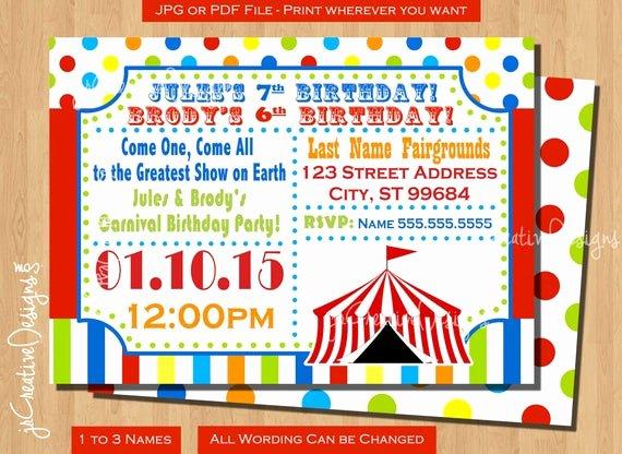 Printable Carnival Birthday Invitations Inspirational Circus Birthday Invitation Circus Invitation Carnival