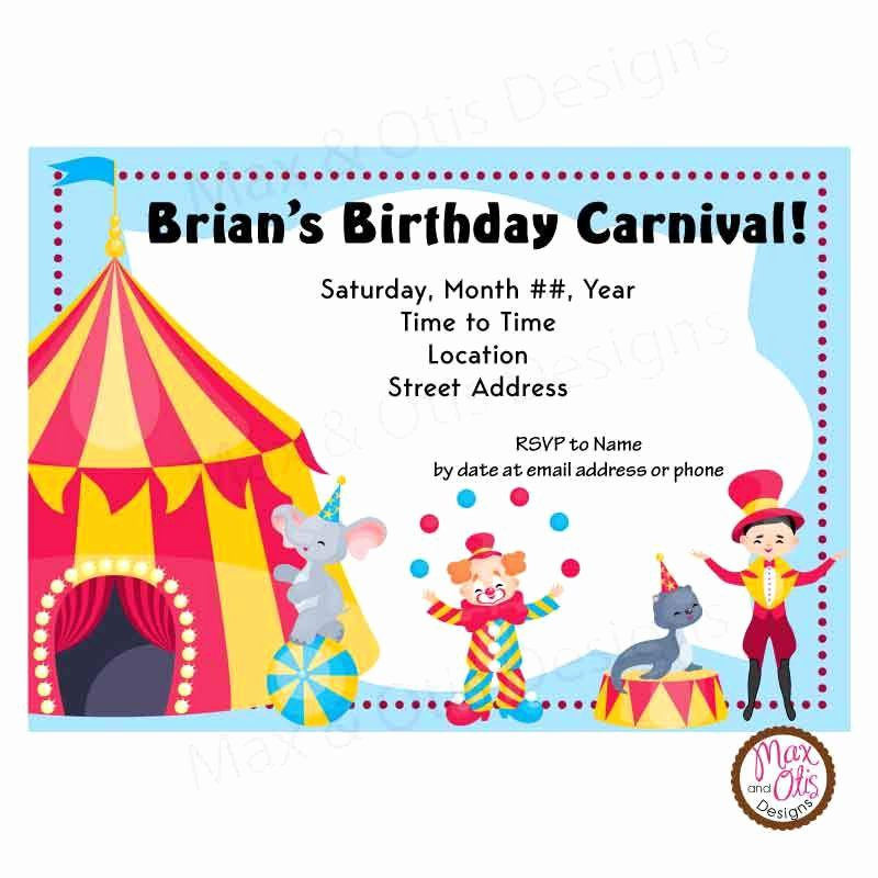 Printable Carnival Birthday Invitations Lovely Carnival Circus Party Custom Invitation Printable – Max