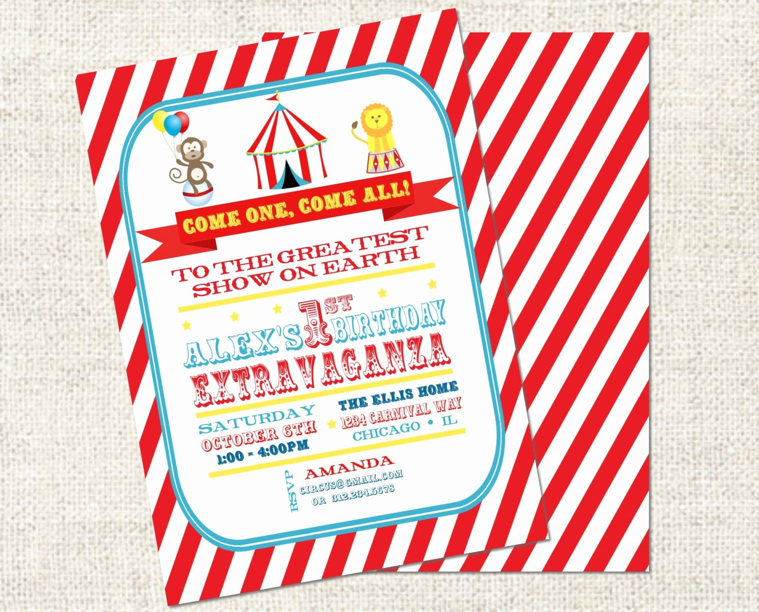 Printable Carnival Birthday Invitations Lovely Circus Birthday Invitation Printable Circus by