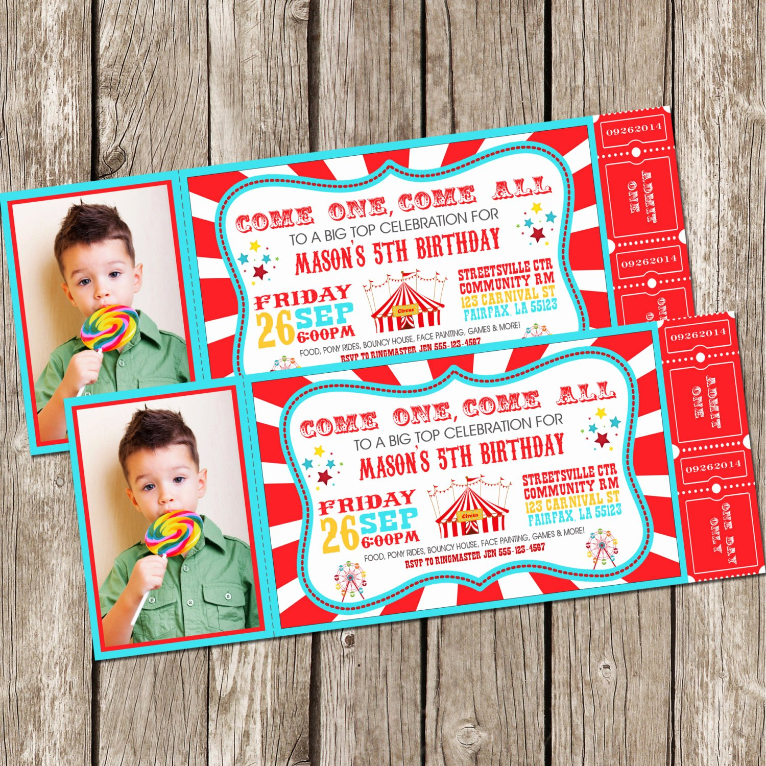Printable Carnival Birthday Invitations New Vintage Circus Carnival Invitation Ticket Invitation