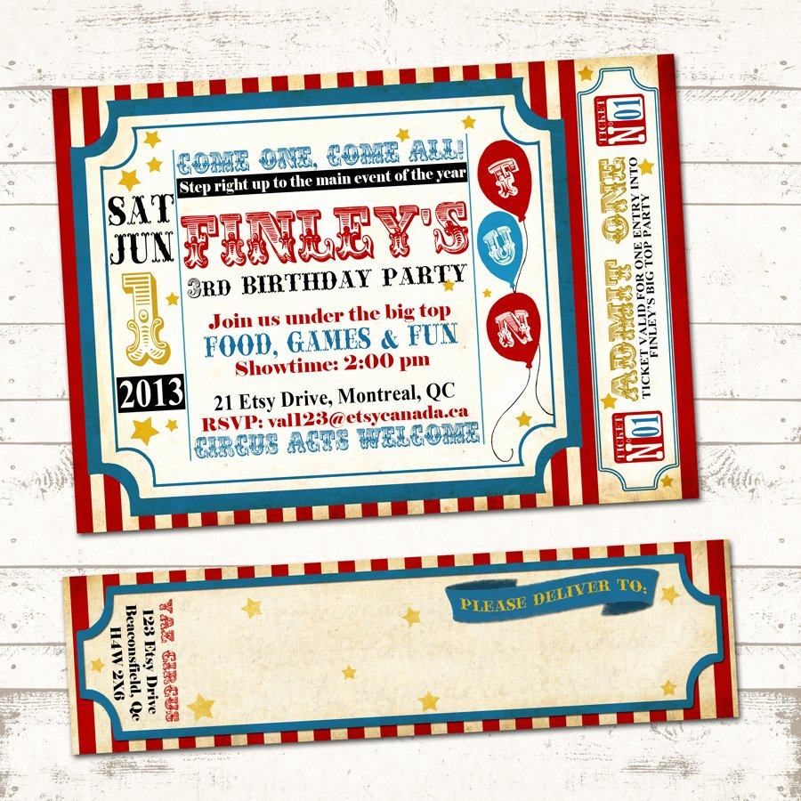 Printable Carnival Birthday Invitations Unique Circus Birthday Invitation with Wrap Around Address Labels