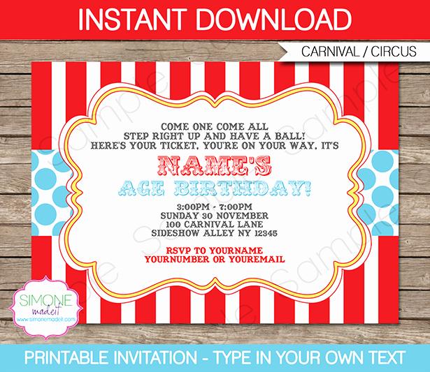 Printable Carnival Birthday Invitations Unique Circus Invitation Template Red Aqua