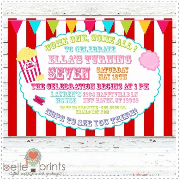 Printable Carnival Birthday Invitations Unique Free Carnival Birthday Party Invitations