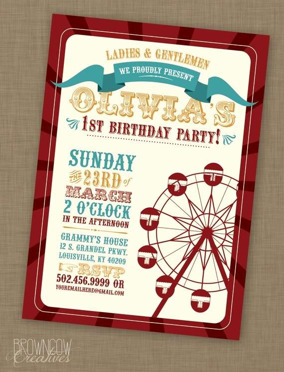 Printable Carnival Birthday Invitations Unique Printable Vintage Carnival Birthday Party Invitation