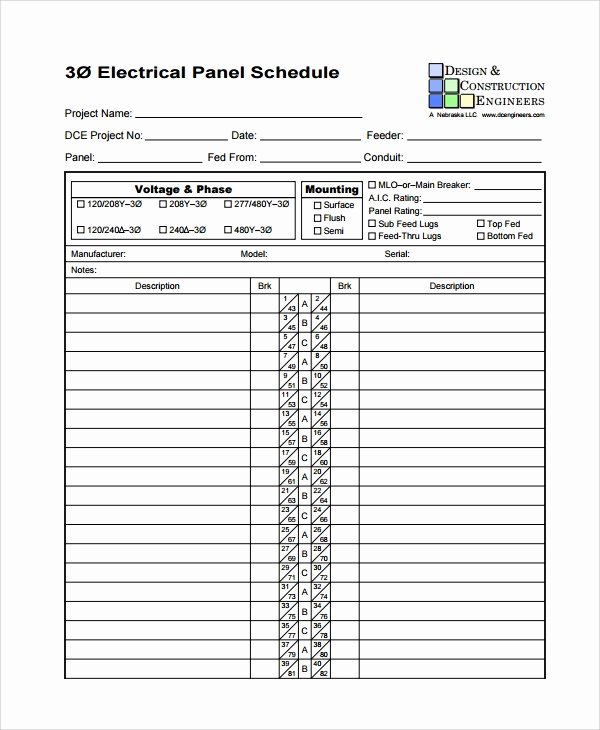 Printable Circuit Breaker Directory Template Fresh 8 Panel Schedule Templates
