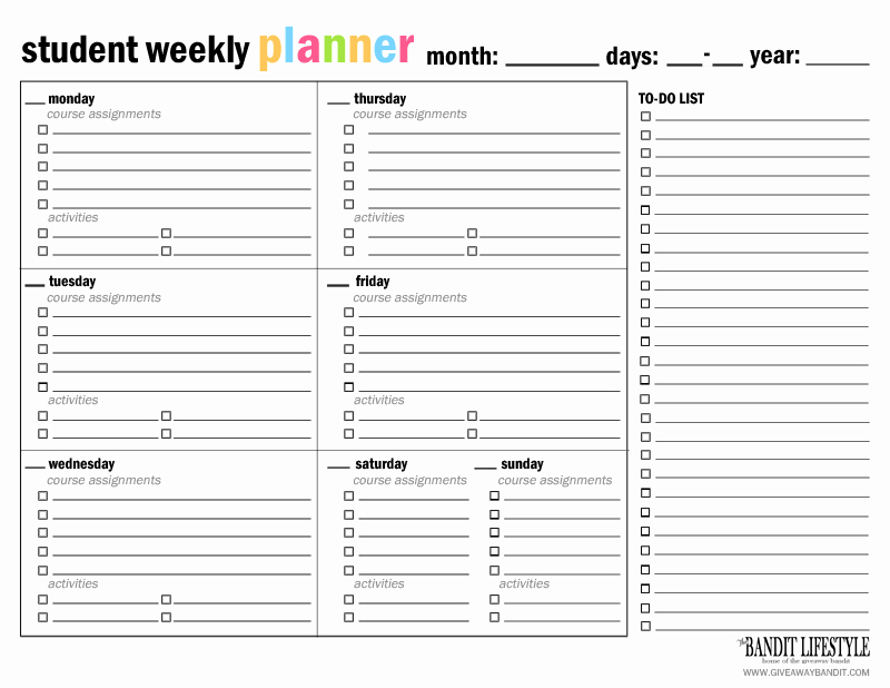 Printable College Student Planner Awesome Printable Student Planner Binder the Bandit Lifestyle