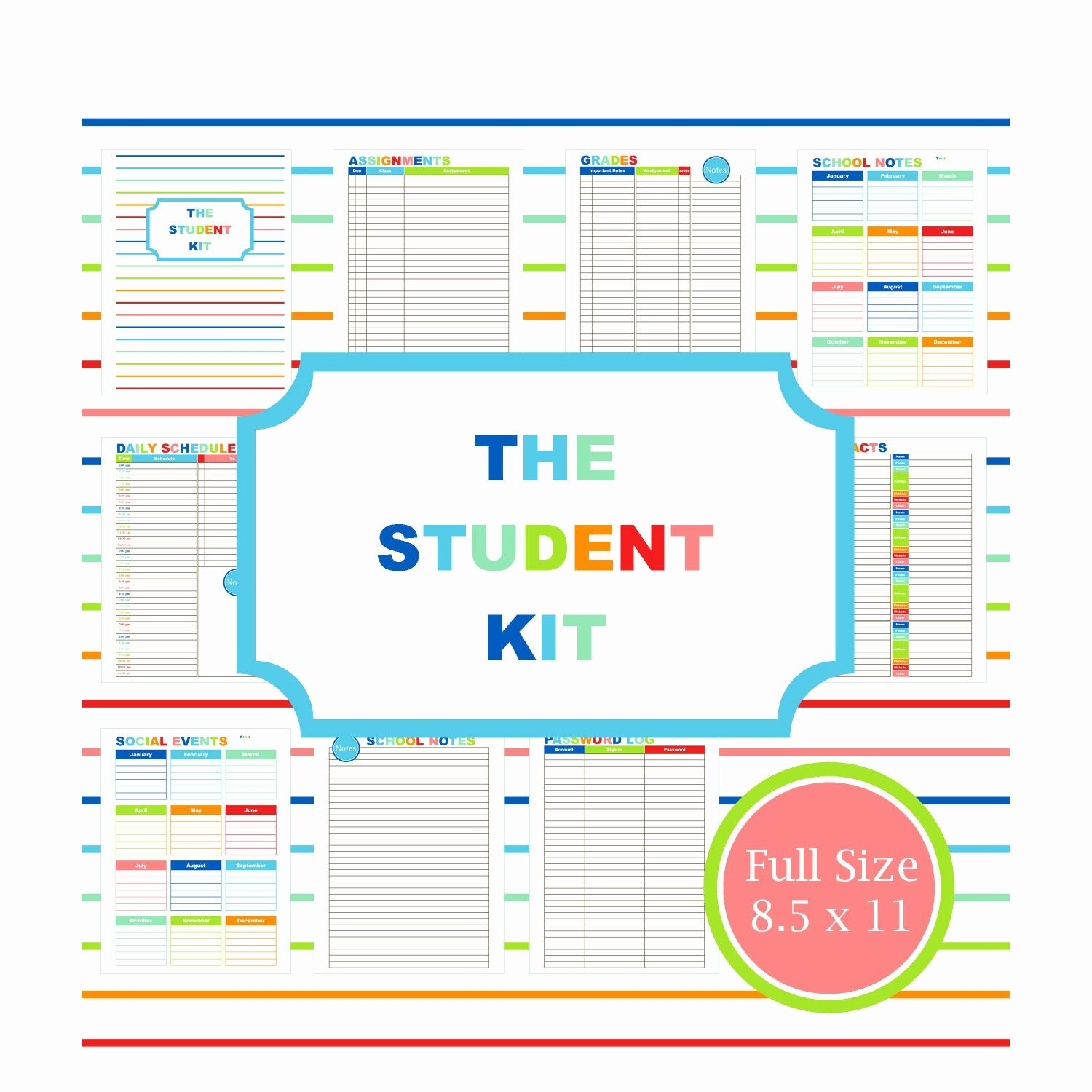 Printable College Student Planner Awesome Student Planner Printable Planner Student College Student