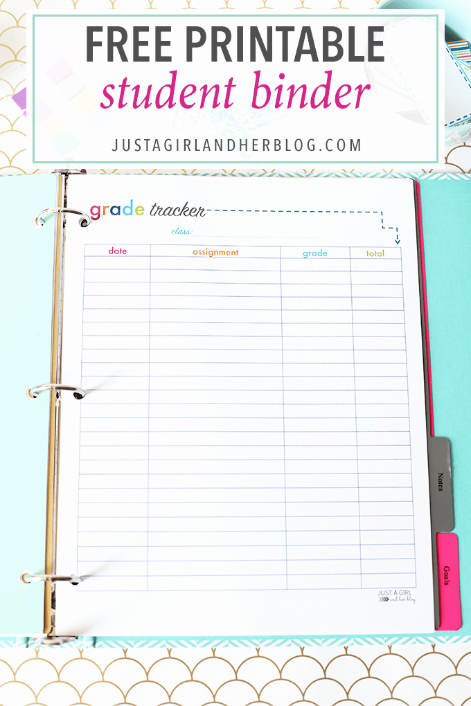 Printable College Student Planner Elegant Printable Student Binder Just A Girl and Her Blog