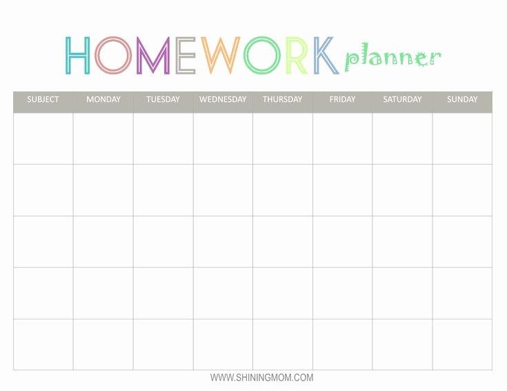 Printable College Student Planner Fresh Free Printable Homework Planner