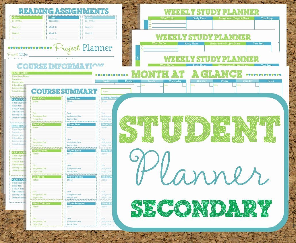 Printable College Student Planner Fresh Instant Download Student Planner Secondary Study