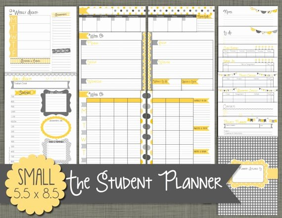Printable College Student Planner Fresh Student Planner Printable Set Sized Small 5 5 X