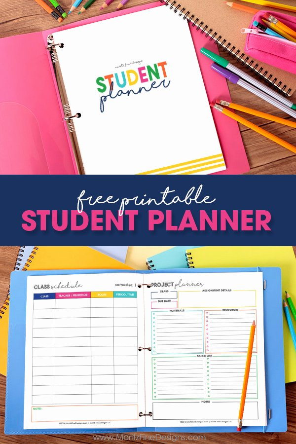 Printable College Student Planner Lovely Free Printable Student Planner